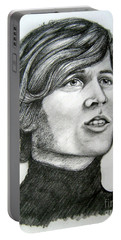 Portable Battery Charger featuring the drawing  A Young Barry Gibb by Patrice Torrillo