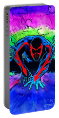 Portable Battery Charger featuring the drawing Spider-man 2099 Illustration Edition by Justin Moore