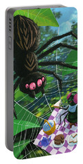 Portable Battery Charger featuring the painting Spider Picnic by Martin Davey