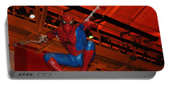 Spiderman Swinging Through The Air Portable Battery Charger by John Telfer