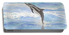 Spinner Dolphin Portable Battery Charger by Pamela  Meredith
