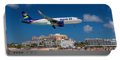 Spirit Airlines Low Approach To St. Maarten Portable Battery Charger