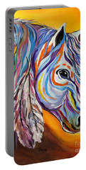 Portable Battery Charger featuring the painting 'spirit' War Horse by Janice Rae Pariza