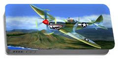 Spitfire Over Hawaii Portable Battery Charger by Glenn Holbrook