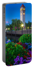 Spokane Clocktower By Night Portable Battery Charger