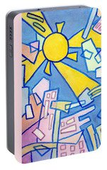 Portable Battery Charger featuring the mixed media Summer In The City #2 by Jim Whalen