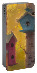 Spring Chickadees 2 - Birdhouse And Birch Forest Portable Battery Charger