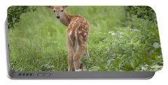 Spring Fawn Portable Battery Charger by Jeannette Hunt