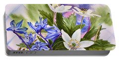Portable Battery Charger featuring the painting Spring Flowers by Irina Sztukowski