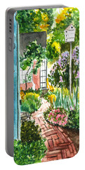 Portable Battery Charger featuring the painting Spring Garden by Clara Sue Beym