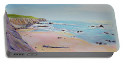 Spring Hills And Seashore At Bowling Ball Beach Portable Battery Charger by Asha Carolyn Young