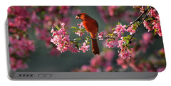 Spring Morning Cardinal Portable Battery Charger by Nava Thompson