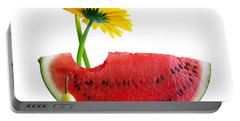 Spring Watermelon Portable Battery Charger by Carlos Caetano