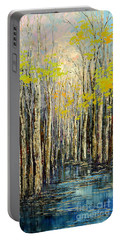 Portable Battery Charger featuring the painting Spring Wind by Tatiana Iliina