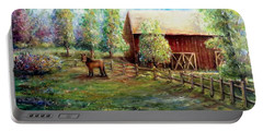 Springborn Horse Farm Portable Battery Charger by Bernadette Krupa