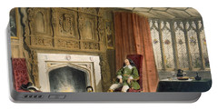 Squire With His Dogs By The Hearth Portable Battery Charger