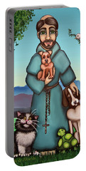 St. Francis Libertys Blessing Portable Battery Charger by Victoria De Almeida