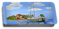 Portable Battery Charger featuring the painting St Lawrence Waterway 1000 Islands by Phyllis Kaltenbach