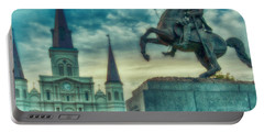 St. Louis Cathedral And Andrew Jackson- Artistic Portable Battery Charger