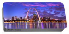 St. Louis Skyline At Dusk Gateway Arch Color Panorama Missouri Portable Battery Charger