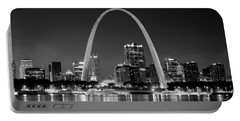 St. Louis Skyline At Night Gateway Arch Black And White Bw Panorama Missouri Portable Battery Charger