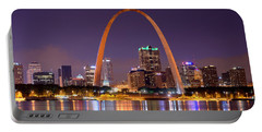St. Louis Skyline At Night Gateway Arch Color Panorama Missouri Portable Battery Charger