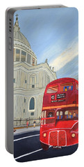 St. Paul Cathedral And London Bus Portable Battery Charger by Magdalena Frohnsdorff
