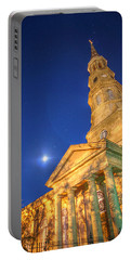 St. Phillip's At Night With Moon And Stars Portable Battery Charger
