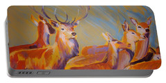 Stag And Deer Painting Portable Battery Charger