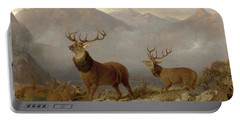 Stags And Hinds In A Highland Landscape Portable Battery Charger