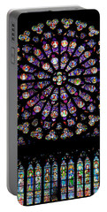 Stained Glass At Notre Dame Portable Battery Charger