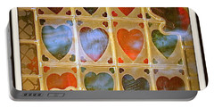 Portable Battery Charger featuring the photograph Stained Glass Hands And Hearts by Kathy Barney