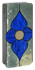 Stained Glass In Blue Portable Battery Charger by E Faithe Lester