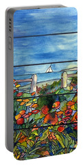 Stained Glass Tiffany Landscape Window With Sailboat Portable Battery Charger