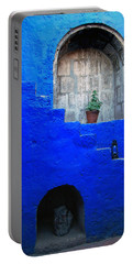 Staircase In Blue Courtyard Portable Battery Charger