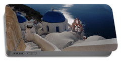 Stairway To The Blue Domed Church Portable Battery Charger by Lucinda Walter