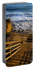 Portable Battery Charger featuring the photograph Steps To Blue Ocean And Rocky Beach by Jerry Cowart