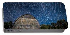 Star Trails Over Barn Portable Battery Charger by Paul Freidlund