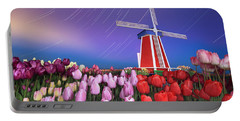 Star Trails Windmill And Tulips Portable Battery Charger by William Lee