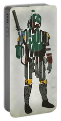 Star Wars Inspired Boba Fett Typography Artwork Portable Battery Charger by Ayse Deniz