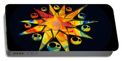 Staring Into Eternity Abstract Stars And Circles Portable Battery Charger