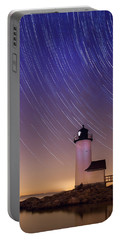 Portable Battery Charger featuring the photograph Stars Trailing Over Lighthouse by Jeff Folger