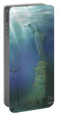 Statue Of Liberty Under Water Portable Battery Charger