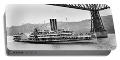 Steamer Albany Under Poughkeepsie Trestle Black And White Portable Battery Charger
