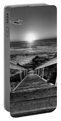 Steps To The Sun  Black And White Portable Battery Charger