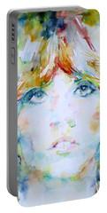Stevie Nicks - Watercolor Portrait Portable Battery Charger by Fabrizio Cassetta