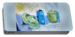 Portable Battery Charger featuring the painting Still Life In Blue And Green Pottery by Greta Corens