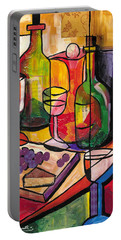 Still Life Of Fruit Wine And Cheese Portable Battery Charger