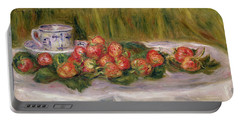 Still Life Of Strawberries And A Tea Cup Portable Battery Charger