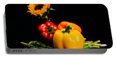 Still Life Peppers Asparagus Sunflower Portable Battery Charger